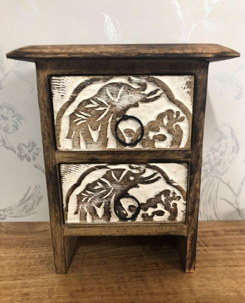 Antique Elephant Design Hand Crafted Small 2 Drawer Jewellery | Trinket Storage